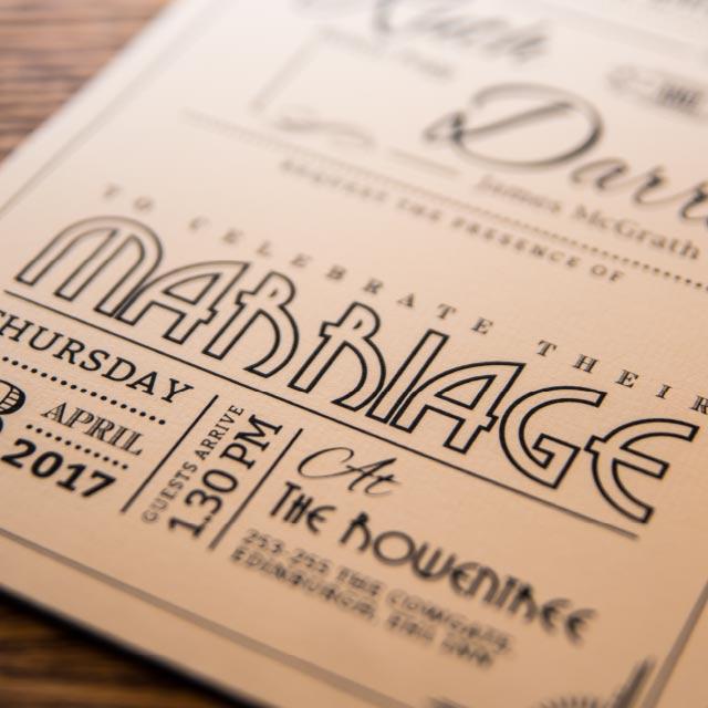Art Deco A5 Pocket Wedding Invitation with Inserts