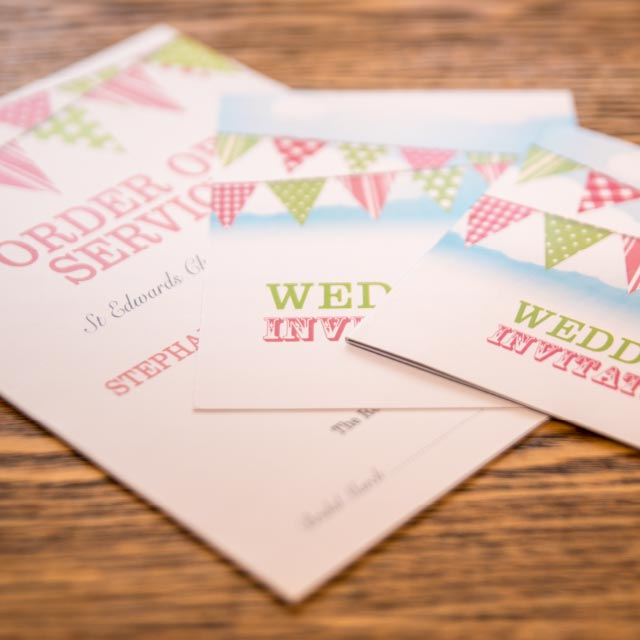Order of Service and Wedding Invitation with Bunting Summer Party Design