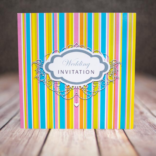 Multi Coloured Striped Folded Wedding Invite