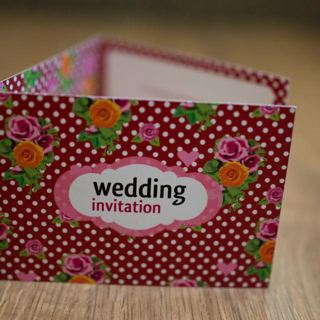 Folded Wedding Invitation , 6 Sides with a Polka Dot Floral Design