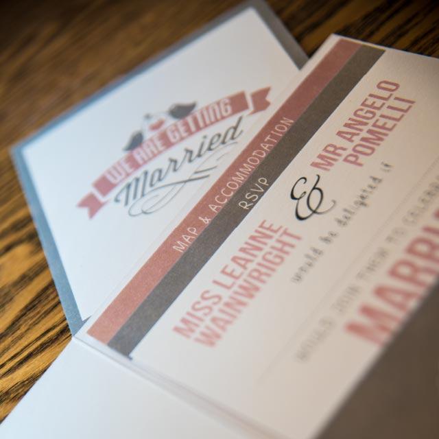 Folded Pocket Wedding Invitation with 3 Inserts