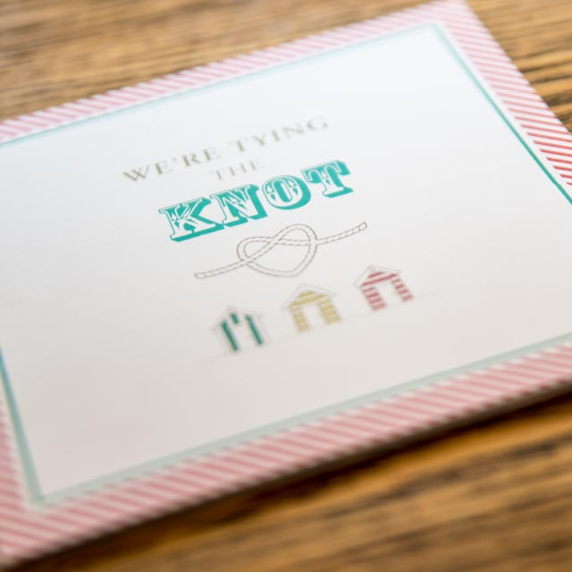 We're tying the Knot Folded wedding Invite