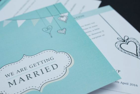 Turquoise Vintage Wedding Invite