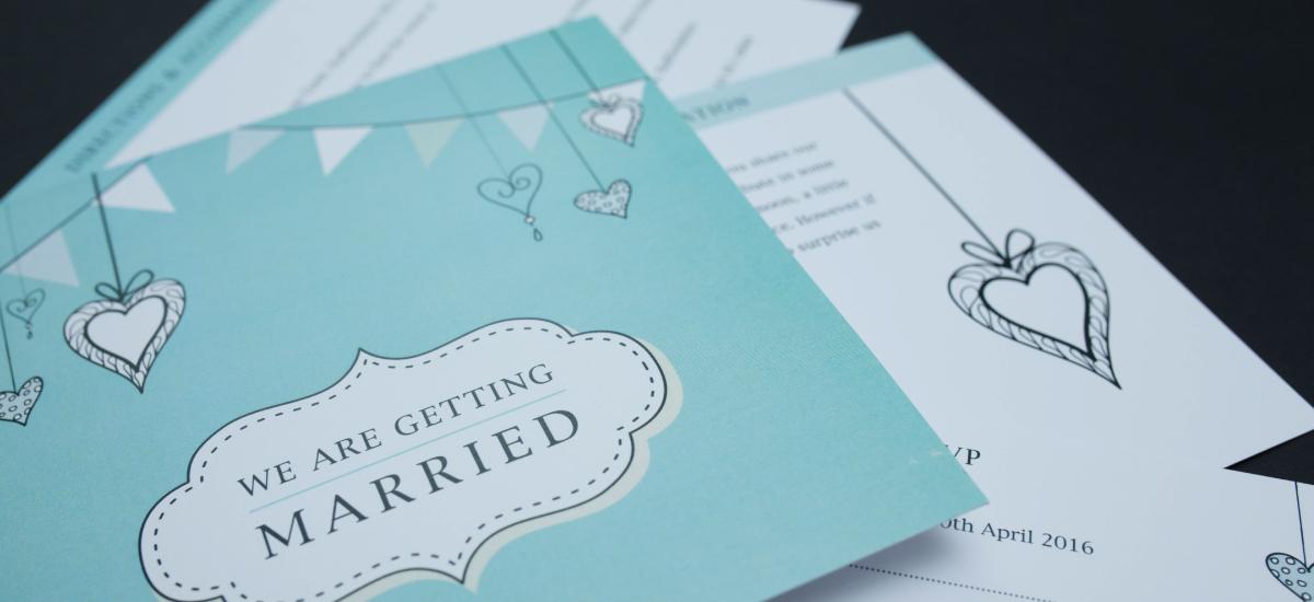 Turquoise Vintage Wedding Invite