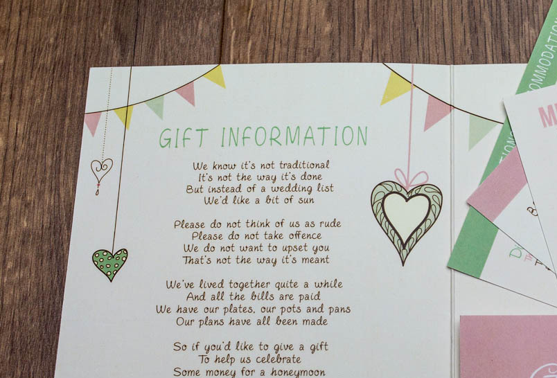 Wedding Invitation Gift Or Money Verses Bespoke Wedding Invites