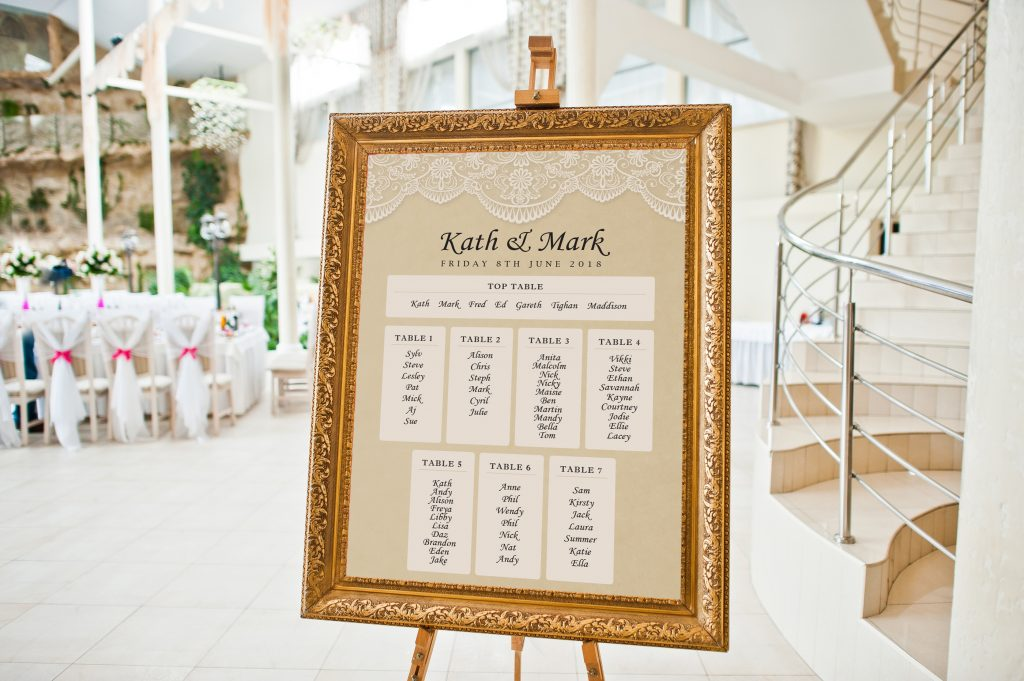 Seating Plan on Easel